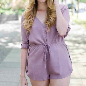 Soft Berry Pink Button-up Romper
